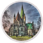 Nidaros Cathedral Round Beach Towel