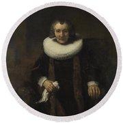 Portrait Of Margaretha De Geer  Wife Of Jacob Trip  Round Beach Towel