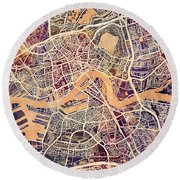 Rotterdam Netherlands City Map Round Beach Towel