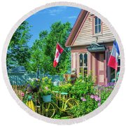 Scenic Garden And Antiques Store Round Beach Towel