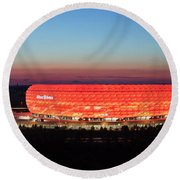 Soccer Stadium Lit Up At Dusk, Allianz Round Beach Towel
