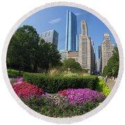 Summer Flowers In Bloom, Millennium Park, Chicago City Center, I Round Beach Towel