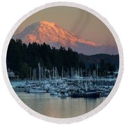 Sunset At Gig Harbor Marina With Mount Rainier In The Background Round Beach Towel