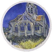 The Church In Auvers Sur Oise  View From The Chevet  Round Beach Towel