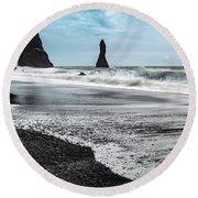 The Dramatic Black Sand Beach Of Reynisfjara. Round Beach Towel