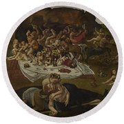 The Fight Between The Lapiths And The Centaurs  Round Beach Towel