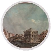 The Grand Canal Above The Rialto  Round Beach Towel