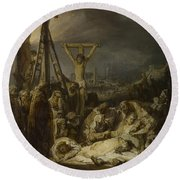 The Lamentation Over The Dead Christ  Round Beach Towel
