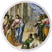 The Miracle Of Christ Healing The Blind  Round Beach Towel