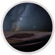 Vibrant Milky Way Composite Image Over Landscape Of Countryside  Round Beach Towel