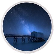 Vibrant Milky Way Composite Image Over Landscape Of Long Exposur Round Beach Towel