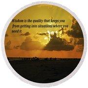 Wisdom Round Beach Towel