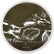 2016 Bmw K1600gt Blueprint, Original Motorcyclkes Blueprints, Bmw Artworks, Vintage Brown Background Round Beach Towel