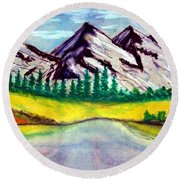 2019#01_mountain Lake Round Beach Towel