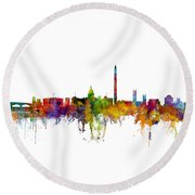 Washington Dc Skyline Round Beach Towel by Michael Tompsett