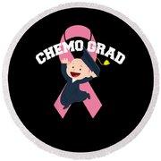 Breast Cancer Awareness Art For Warrior Women Dark Round Beach Towel