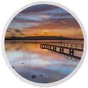 Early Morning Clouds And Reflections On The Bay Round Beach Towel