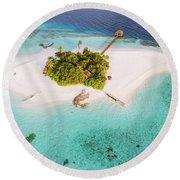 Aerial Drone View Of A Tropical Island, Maldives Round Beach Towel