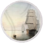 Boston Harbor  Sunset  Round Beach Towel
