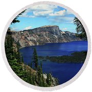 Crater Lake Oregon Round Beach Towel