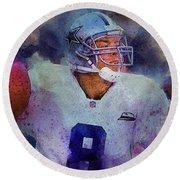 Dallas Cowboys.troy Kenneth Aikman Round Beach Towel