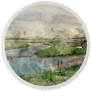 Digital Watercolor Painting Of Beautiful Dawn Landscape Over Eng Round Beach Towel