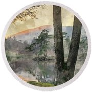 Digital Watercolor Painting Of Beautiful Landscape Image Of Tarn Round Beach Towel