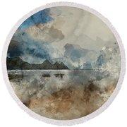 Digital Watercolor Painting Of Beautiful Summer Sunrise Landscap Round Beach Towel