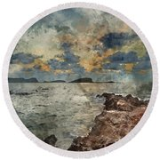 Digital Watercolor Painting Of Sunrise Over Rocky Coastline On M Round Beach Towel