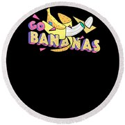 Go Bananas Good Old Times Born In The 90s Retro Rustic Round Beach Towel