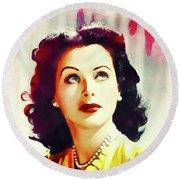 Hedy Lamarr, Vintage Movie Star Round Beach Towel