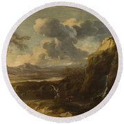 Landscape With Tobias And The Angel  Round Beach Towel