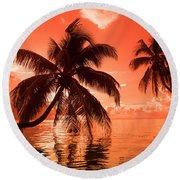 Palm Trees At Sunset, Moorea, Tahiti Round Beach Towel