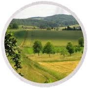 Photograph Of A Field In Germany Round Beach Towel