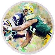 Reggie White. Green Bay Packers. Round Beach Towel