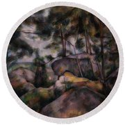 Rocks In The Forest  Round Beach Towel