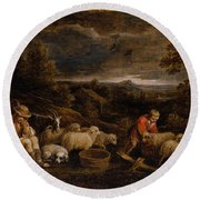 Shepherds And Sheep  Round Beach Towel