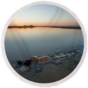 Sunset Over Platte River  Round Beach Towel