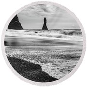 The Dramatic Black Sand Beach Of Reynisfjara. Round Beach Towel