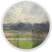 The Garden Of The Tuileries On A Winter Afternoon  Round Beach Towel