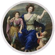 The Marquise De Seignelay And Two Of Her Sons  Round Beach Towel