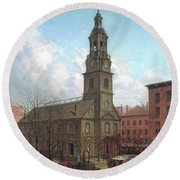 The North Dutch Church  Fulton And William Streets  New York  Round Beach Towel