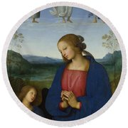 The Virgin And Child With An Angel  Round Beach Towel