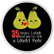 35th Wedding Anniversary Funny Pear Couple Gift Round Beach Towel