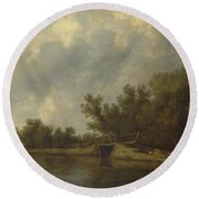 A River Landscape With Fishermen  Round Beach Towel