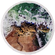 Aerial View Of The Beach, Newport Round Beach Towel