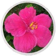 Bright Pink Hibiscus Round Beach Towel