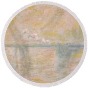 Charing-cross Bridge In London -  Round Beach Towel