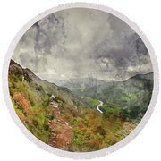 Digital Watercolor Painting Of Landscape Image Of View From Prec Round Beach Towel
