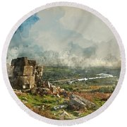 Digital Watercolor Painting Of Stunning Autumn Sunset Landscape  Round Beach Towel